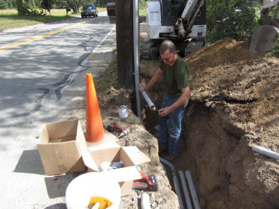 Herb installing underground electrical cable.  Sep 20.