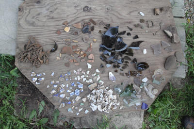 Scattered artifacts found during drainage work.  Aug 30.