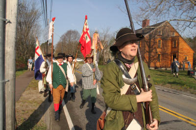 Stow Minute Men march by Barrett Farm