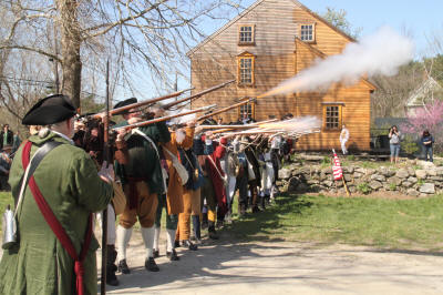 Musket salute on east side of house.