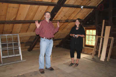 Norm and Deborah in attic